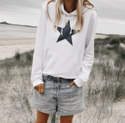 *NEW* White hoody with a grey star