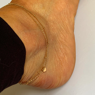 Heart & chain double ankle bracelet