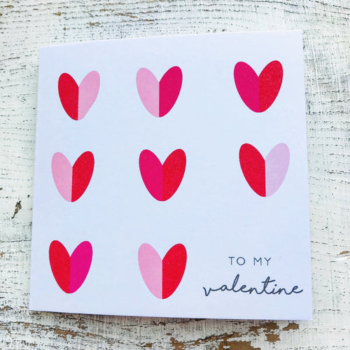 Red hearts valentines card