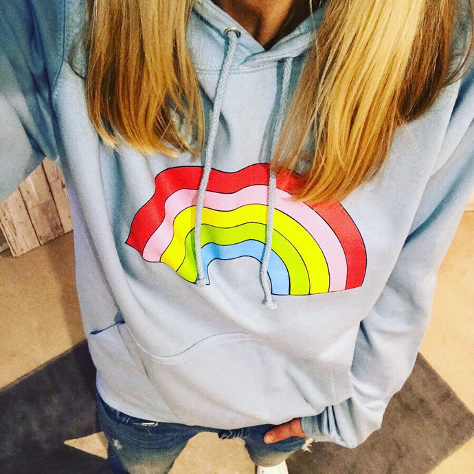 Pale blue rainbow hoody