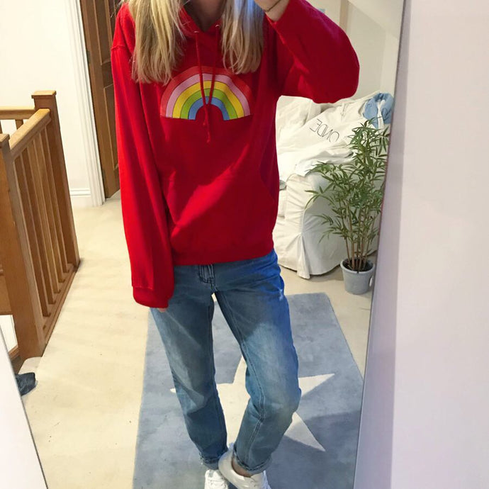 Red rainbow hoody (m)