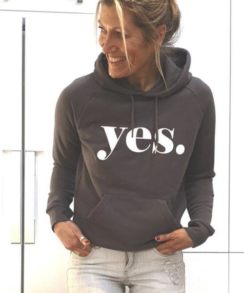 *NEW* YES charcoal grey hoody