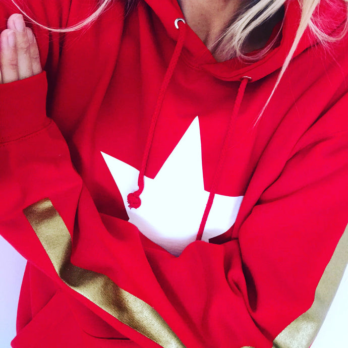 Red hoody with gold stripes on the arms