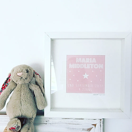 Personalised name frame for newborn