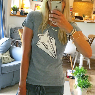 White shooting star grey tee