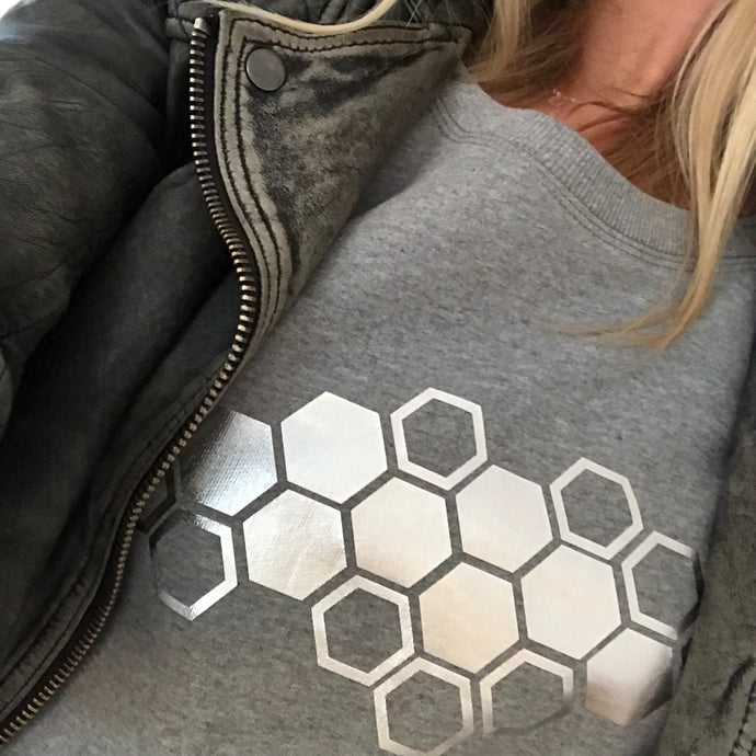 Metallic Silver Honeycomb on light grey sweat (M)