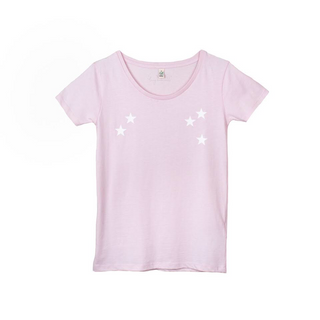 White scattered stars on a pink tee