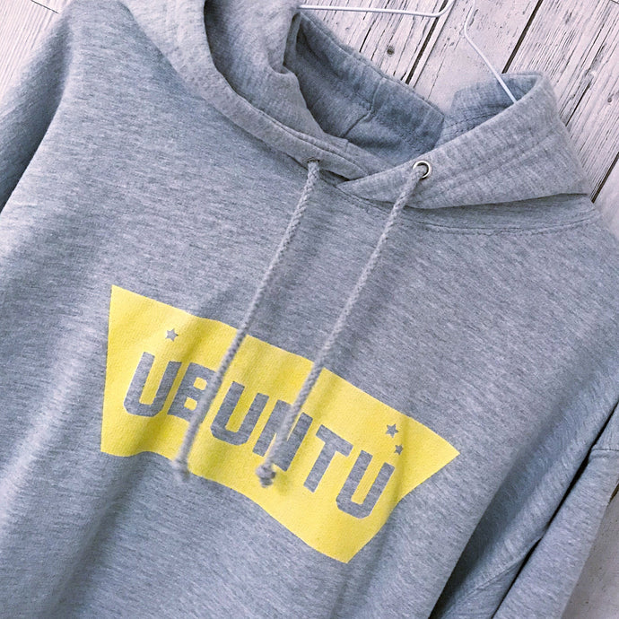 Yellow UBUNTU grey hoody (medium, size 10-12)