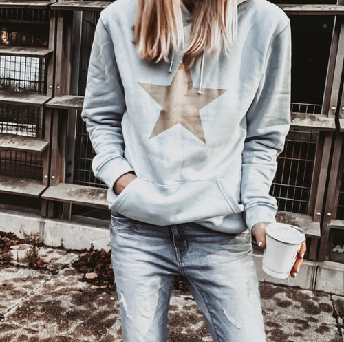 *NEW* Sky blue hoody with a gold star