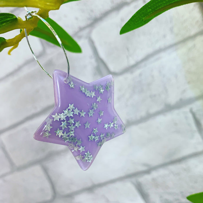 Purple glitter star earrings