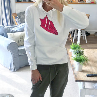 Pink shooting star on white hoody (m)