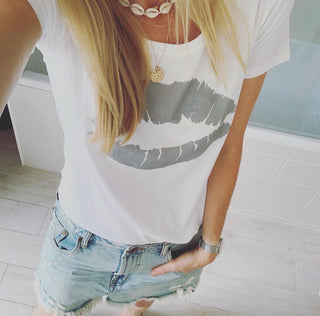 *NEW* Grey lips white tee