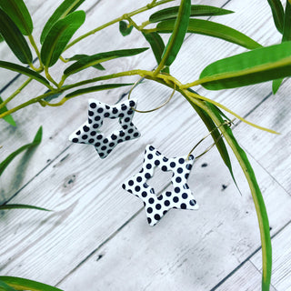Polka dot star earrings