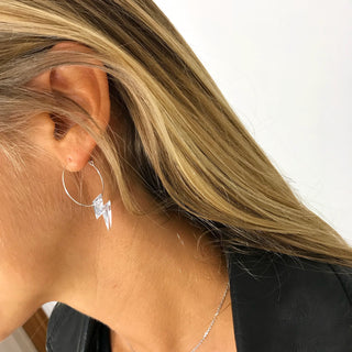 NEW!!! Mirror little lightning strike hoop earrings
