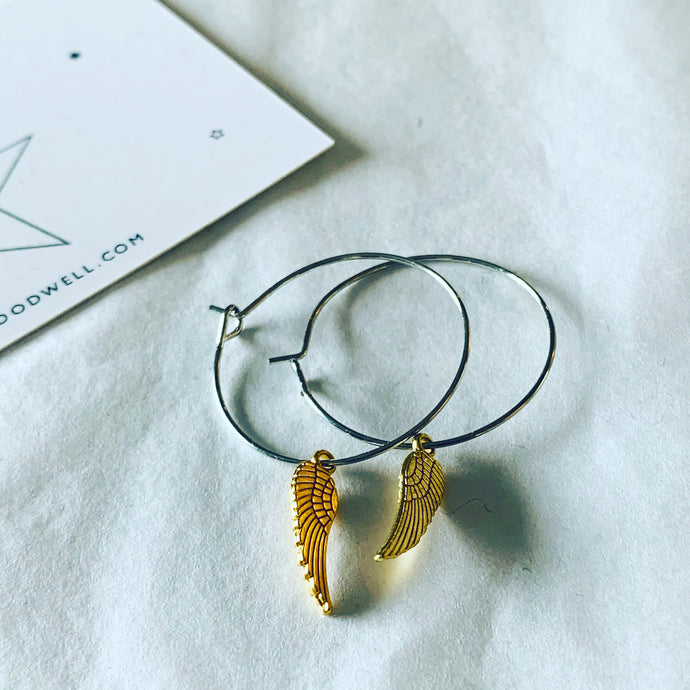Gold angel wings silver hoop earrings