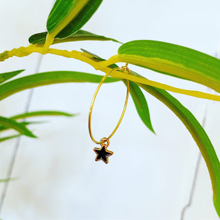 Tiny black & gold star hoop earrings