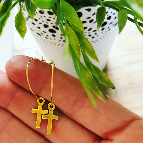 Gold cross gold hoop earrings