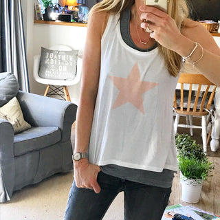 Dusty pink star white vest ** only a medium left