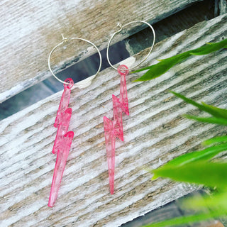 Lightning hoop earrings (lots of colours available)