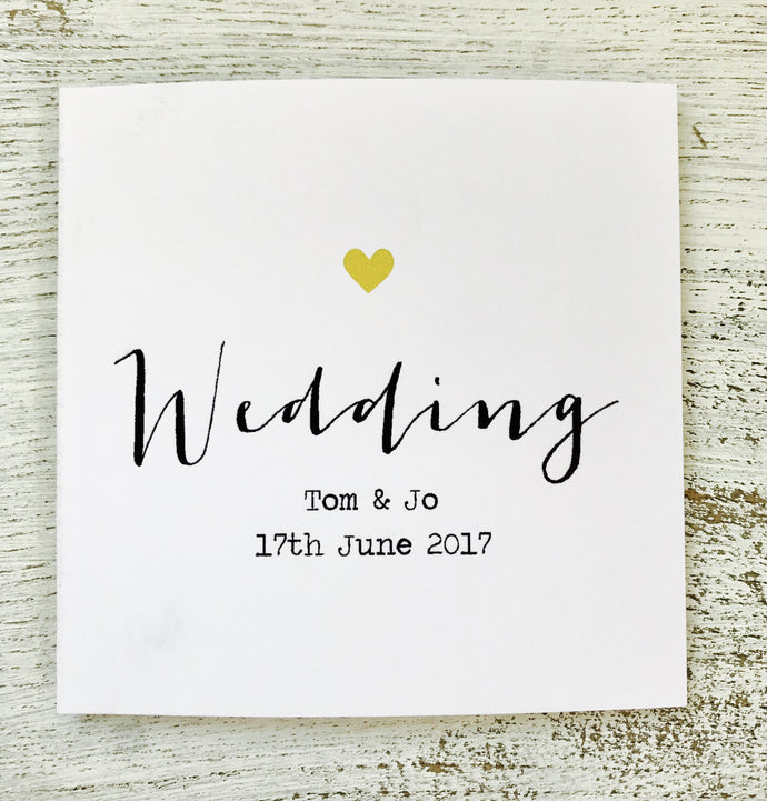 Personalised wedding card simple green heart