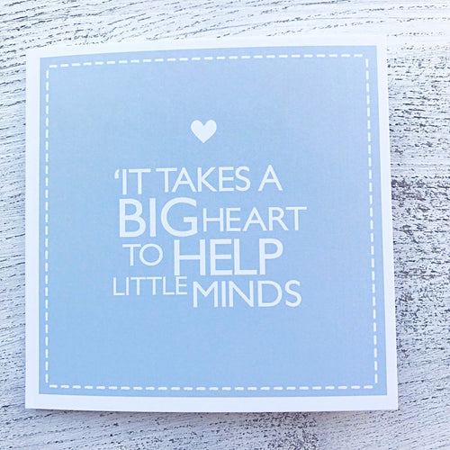 Big heart teacher card