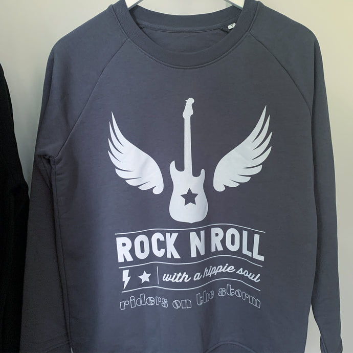 Rock & roll with a hippie soul charcoal sweatshirt