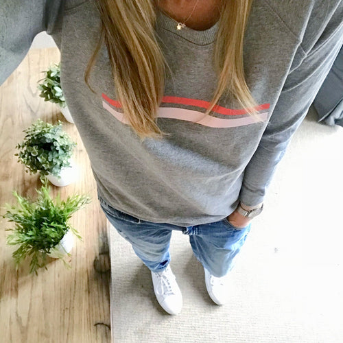 Red & pink striped light grey sweatshirt