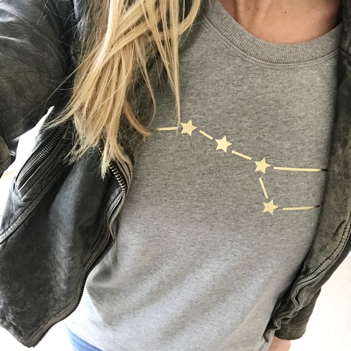 Metallic Gold Big Dipper on light grey sweat