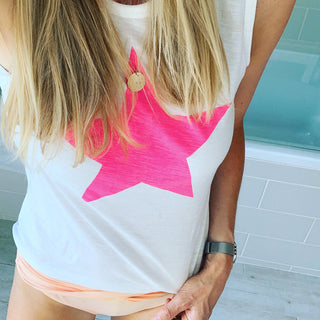 Neon pink star  tank top *NEW*