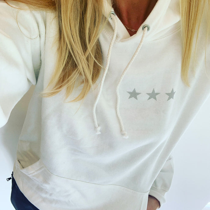 White hoody with three grey stars (size 12-14)