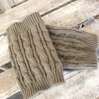 Knitted grey ankle warmers