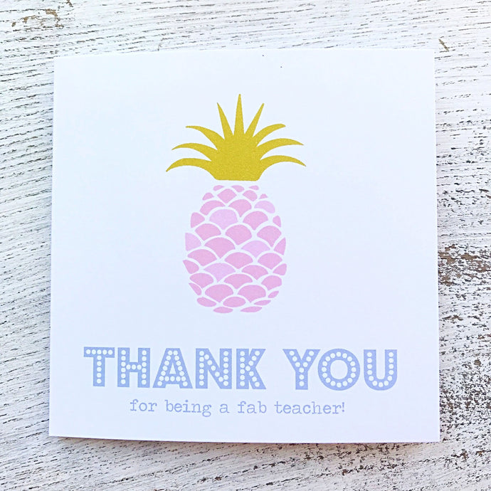 Pink pineapple thank you teacher card