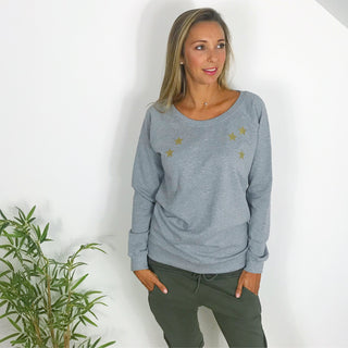 NEW!! Gold scattered stars on a grey sweat