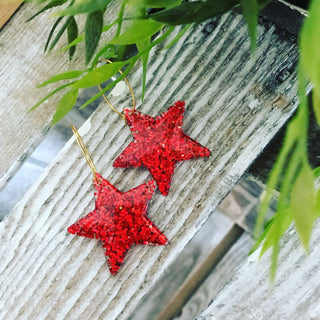 Red glitter star hoop earrings