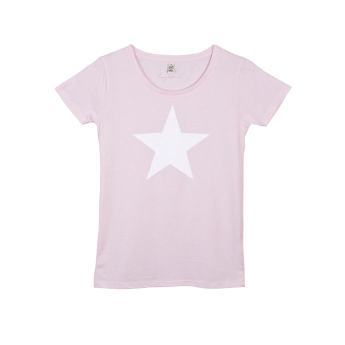 White star on pink tee