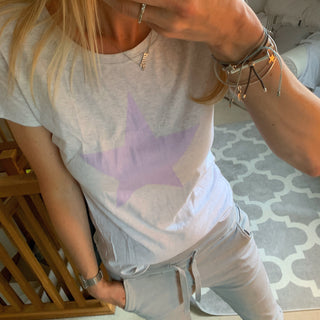 Lilac star on grey tee