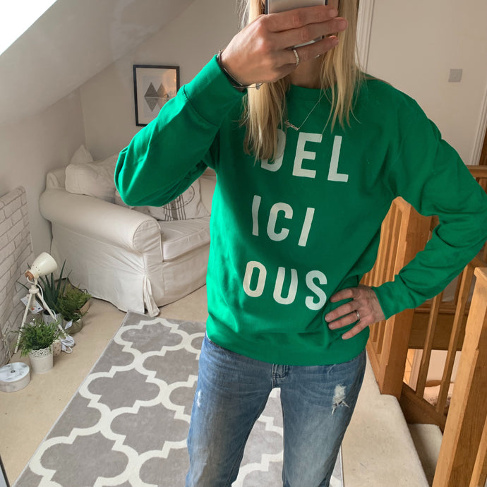 Delicious bright green sweatshirt (size 12-14)