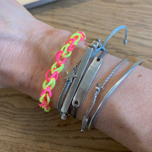 Neon yellow & pink chain bracelet