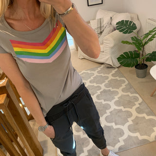 Rainbow chevron on opal tee (medium size 12)