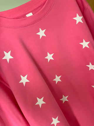 Little white stars on bright pink sweatshirt (medium, uk 12-14)