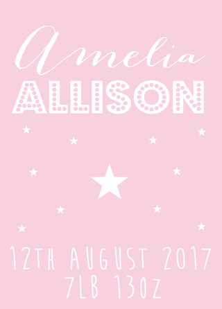 A4 print for new baby: Personalised