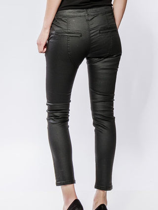 Brixton black faux leather jeans with asymmetric waist detail *back in stock*
