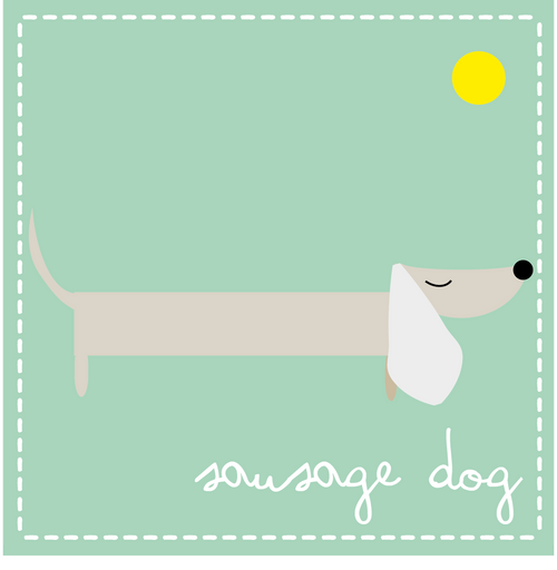 Sausage dog aqua card