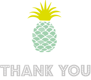 Thank you pineapple postcards (aqua or pink) Pack of ten