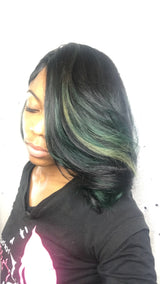 green hair, hilights, green hilights, green ombre
