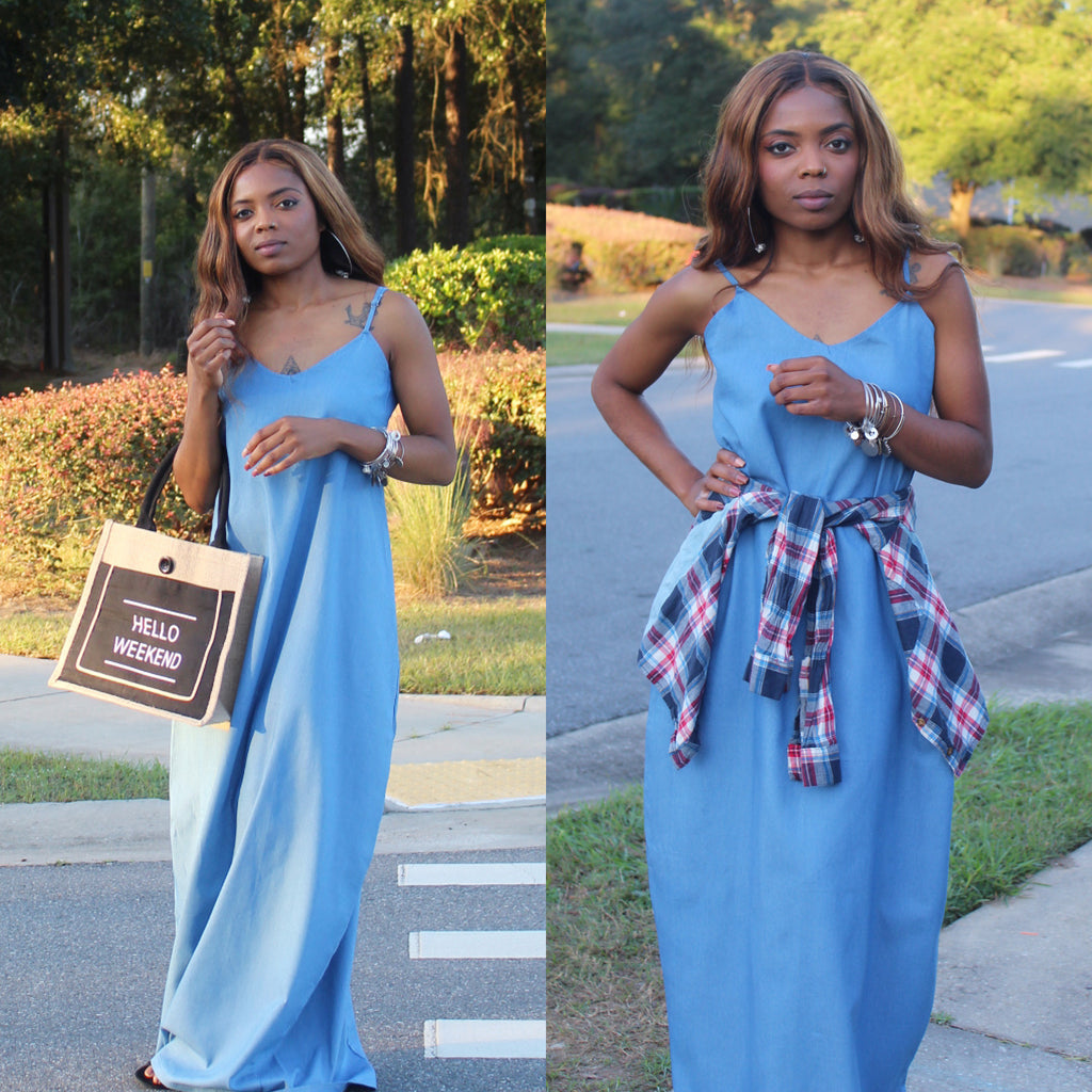 Oversized denim maxi dress