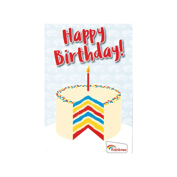 Rainbows birthday cards - cake (6 pack)