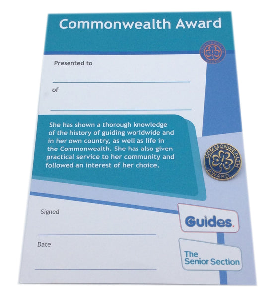 Leader Commonwealth Award Metal and Certificate