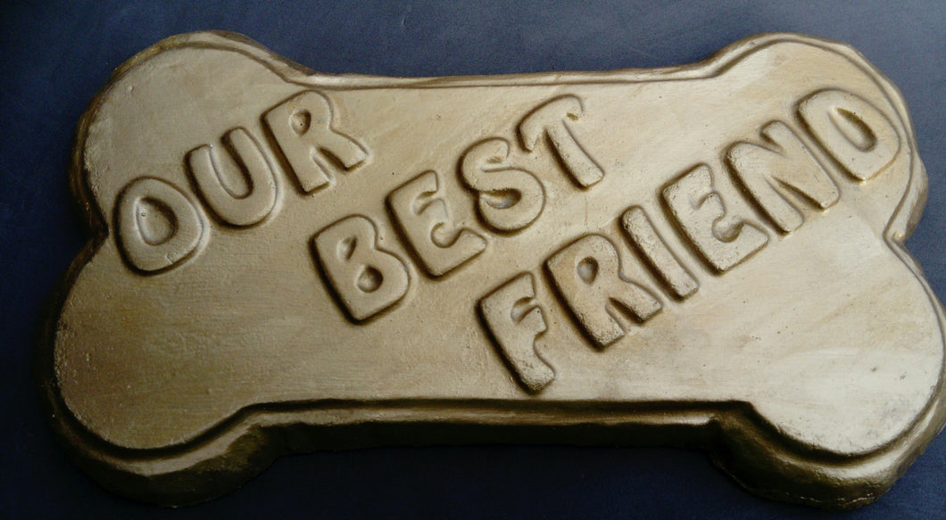 Dog Bone Pet Memorial Plaque, Gold Effect PERSONALISED