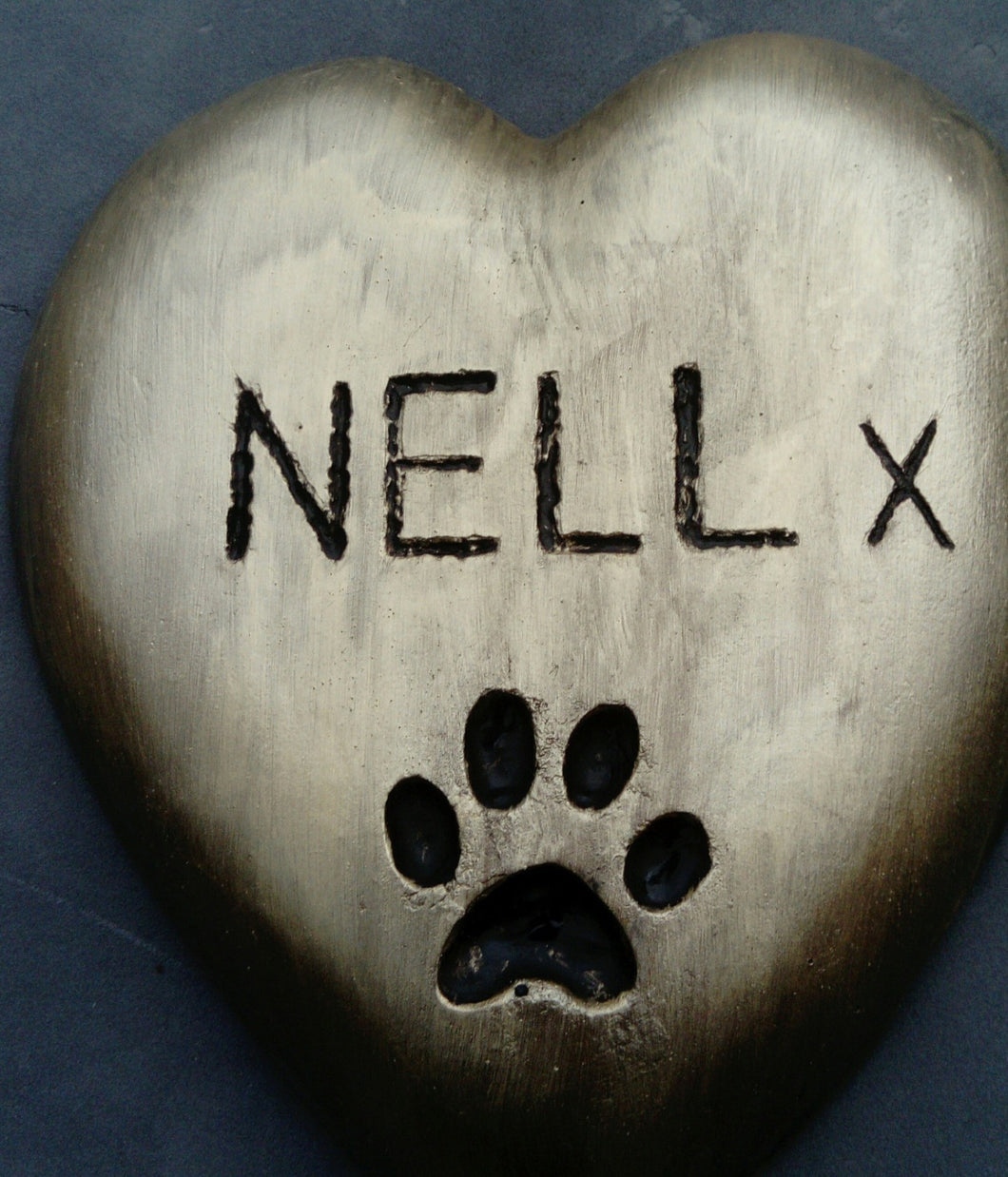Heart Shaped Paw Print Memorial Plaque, Gold Effect PERSONALISED